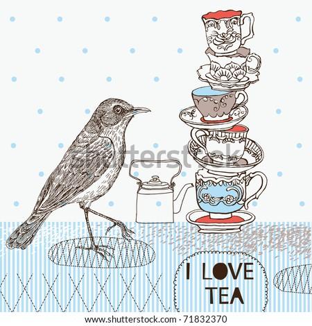 tea background with teacups and bird