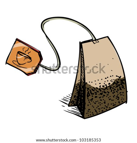 Tea Bag Drawing Tea Bag With Brown Label