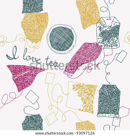 tea bags. seamless pattern