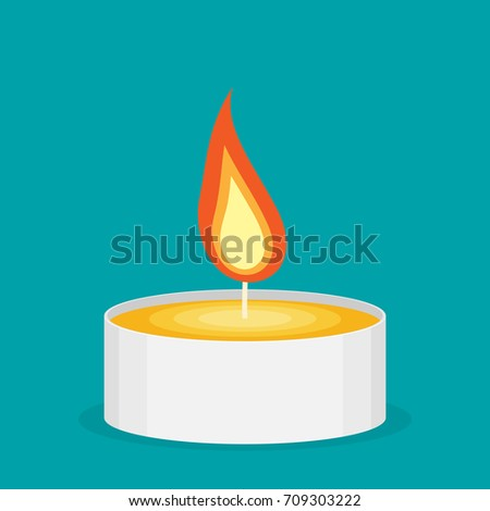tea candle flat vector icon