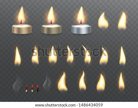 tea candles and fire flame