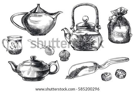tea ceremony set of vector
