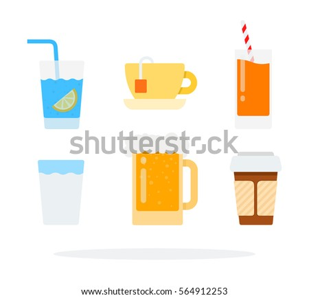 tea  coffee and water vector