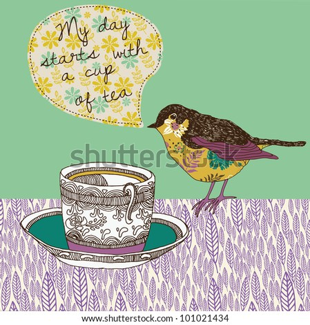 tea cup and bird