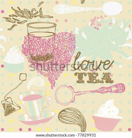 tea cup background - stock vector