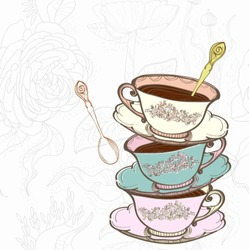 tea cup background with spoon,vector  illustration