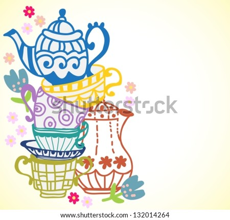 tea cup background with teapot, illustration for design, vector