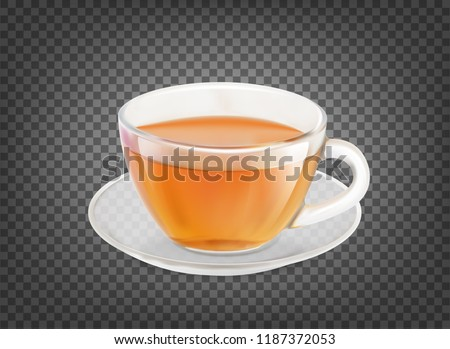 Tea cup isolated over black transparent background. Vector illustration. Foto stock ©