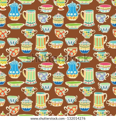 tea cup seamless background with teapot,vector illustration for design