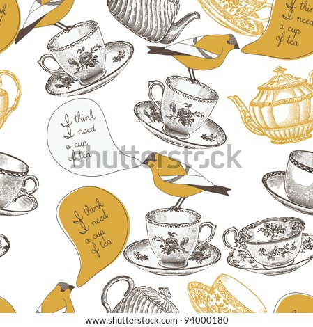 tea cups and birds. seamless pattern