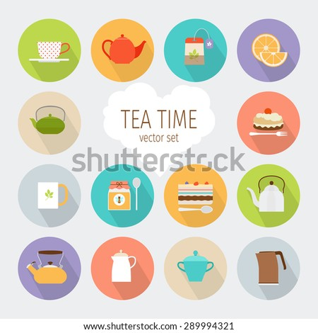 tea flat icons cup of tea and