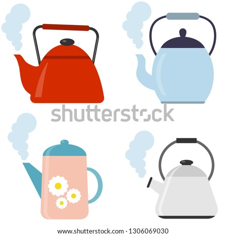 Tea. Fresh brewed tea - teapot, pour in a cup of tea. Vector illustration of logo for ceramic teapot, kettle on background. Teapot pattern consisting. Stock photo ©