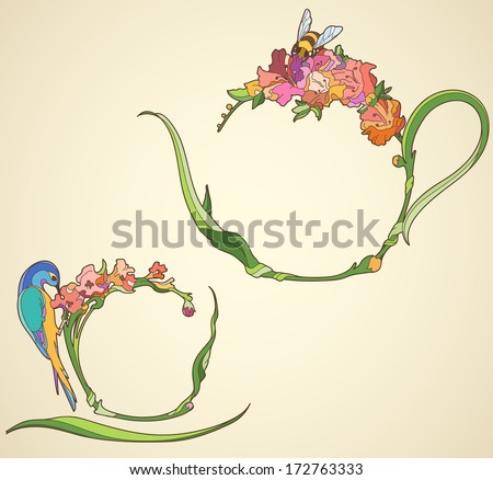 tea kettle and cup with flowers