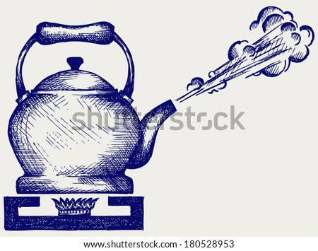 Tea kettle on gas stove. Doodle style