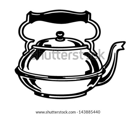 Tea Kettle - Retro Clip Art Illustration
