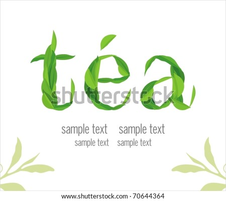 tea leaves. Green background