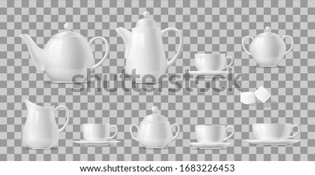 Tea or coffee set realistic vector design of hot beverage and drink white ceramic cups and pots. 3d porcelain teapots, mugs, kettle and saucers, sugar bowls, creamer pitcher and sugar cubes