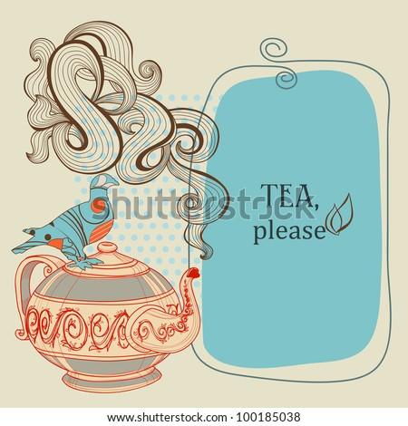 Tea or coffee vector panel with decorative bird