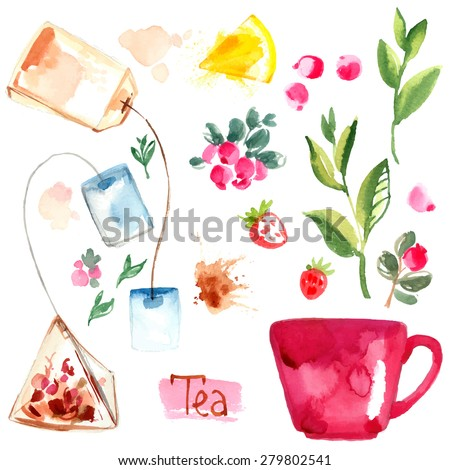 Tea painted with watercolors on white background. Figure ink on paper. Tea chanik, a cup, a bag of berries. Vector