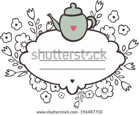 Tea party vector invitations download free vector art stock tea party invitation decorative frame stopboris Image collections