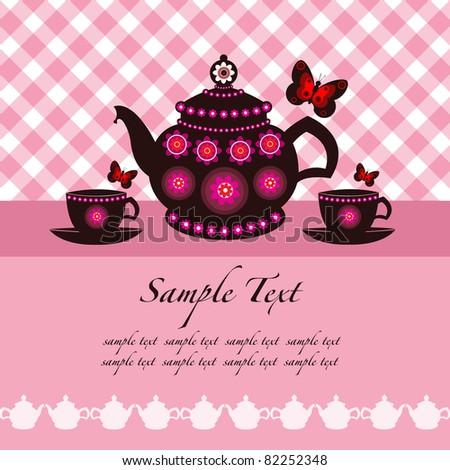 tea pot and tea cups background