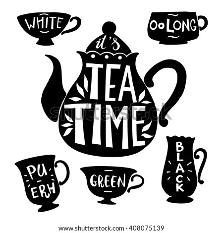 tea pot silhouette with quote