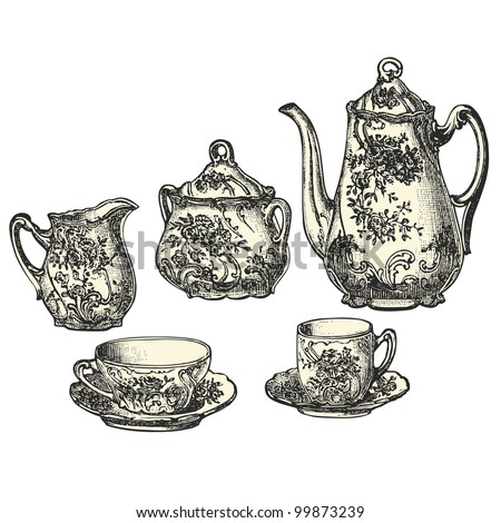 Tea pot  - vintage engraved illustration - Catalog of a French department store - Paris 1909