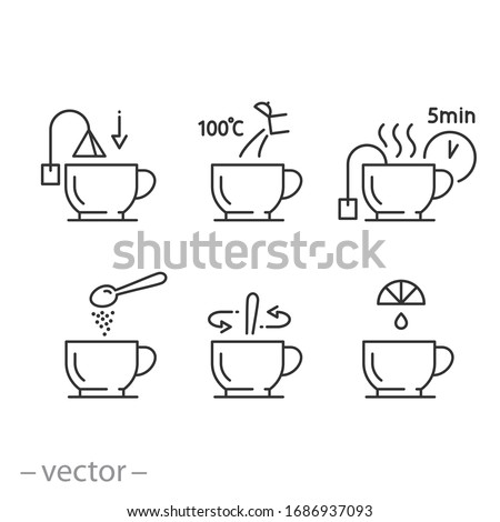 tea preparation instruction icon set, process cooking hot drink, making cup with kettle for pour water, time brew tea, thin line web symbols on white background - editable stroke vector illustration  Foto stock ©