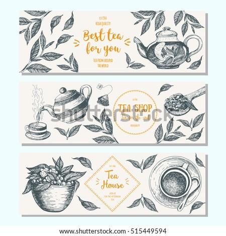 Tea shop banner set. Horizontal banner collection for tea design. Linear graphic. Vector illustration.