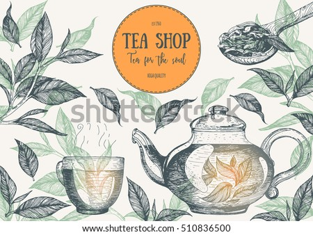 Tea Shop frame vector illustration. Vector card design with tea. Tea house poster. Vector hand drawn set. Linear graphic.