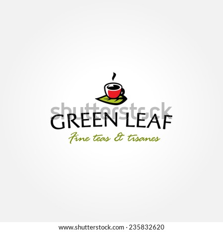 Tea shop logo symbol icon template with green leaf and teacup