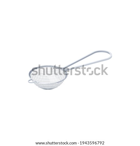 Tea strainer with handle isolated metal sieve icon. Vector strainer placed over teacup to catch loose leaves, kitchenware utensil. Sterling silver or stainless steel brewing or infusing basket Stock photo ©