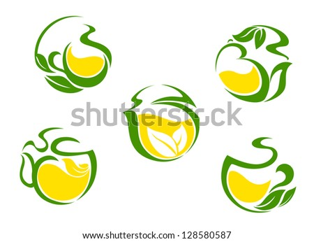 Tea symbols with lemon and green leaves for beverages design or logo template. Jpeg version also available in gallery - stock vector
