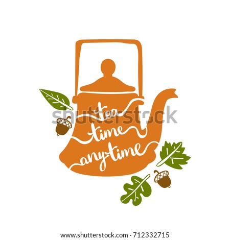Tea time anytime. Teapot. Isolated vector object on white background.