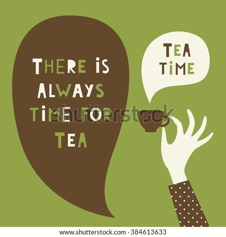 tea time card design vector