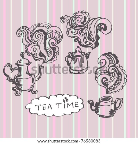 Tea time card on a striped tablecloth