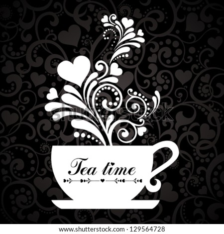 Tea time. Cup with floral design elements.  vector Illustration