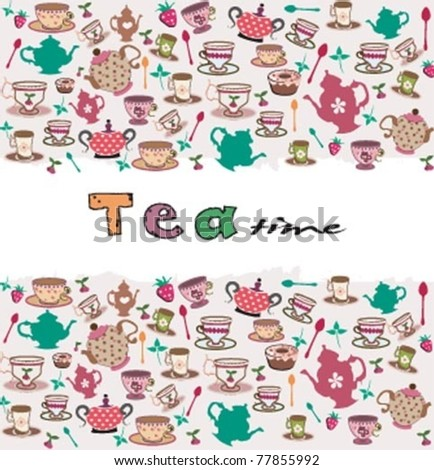 tea time, cute pattern.