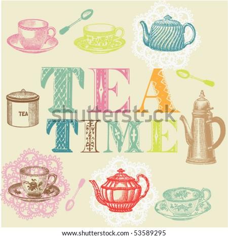 tea time set - stock vector