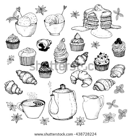 tea time set hand drawn