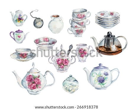 Tea Time Set. Water color hand drawn illustration. Collection utensil. Vector