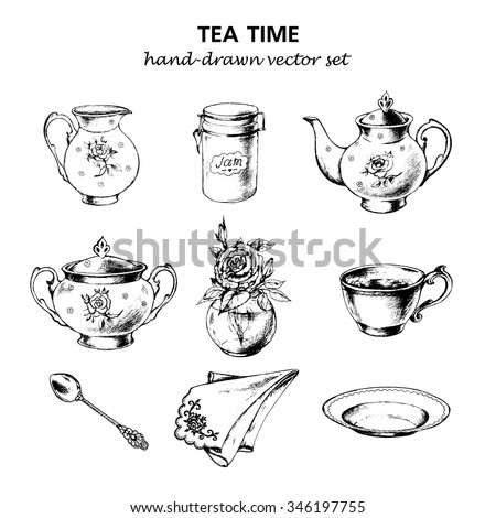 tea time set with porcelain...
