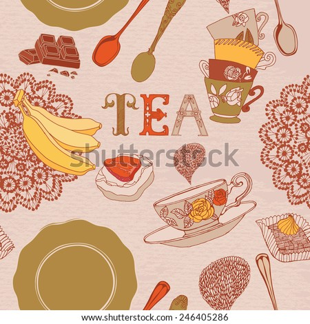 Tea time still life set vector illustration.