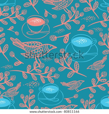 tea with raspberry seamless pattern - stock vector