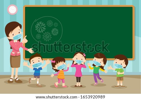 Teacher and children wear a medical face mask with chalkboard for copy space.Teacher,Boy and girl wear medical mask.Virus Wuhan Covid-19 and protection.Prevent Pollution with a health mask