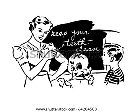 Teacher And Kids In Classroom - Retro Clipart Illustration