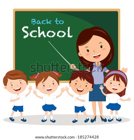 Teacher and school kids. Vector illustration of a cheerful teacher with school kids.