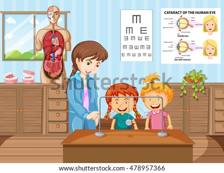 Teacher and students learning in science classroom illustration