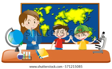 Teacher and two students in geography class illustration
