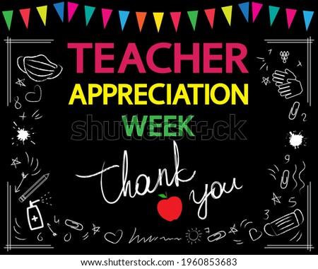Teacher appreciation week concept. Thank you, teacher, white vector lettering on blackboard. Garland and school patterns. Сток-фото ©
